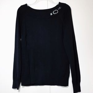 Ralph Lauren Black Sweater W/Silver Leather Bit